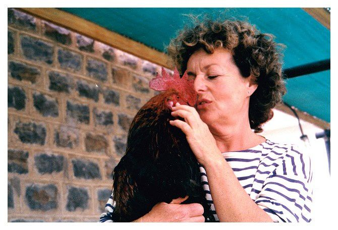 Anne et son coq préféré