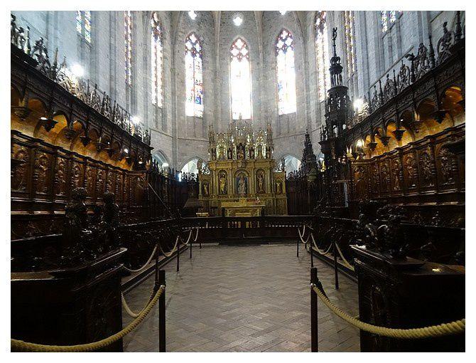 l'autel majeur renaissance et les stalles sculptées ; celles-ci formant une clôture, permettaient d'isoler les chanoines du flux très important des pèlerins venant vénérer les reliques de Saint Bertrand.