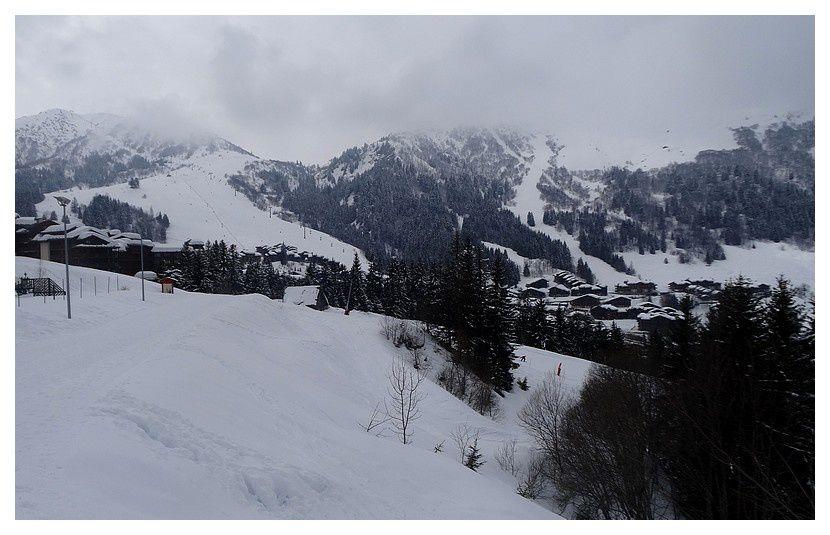 Le Bourg (la station) vu du chemin de l'Aigle Blanc ou route forestière de coté soleil ... mardi 20, jour blanc