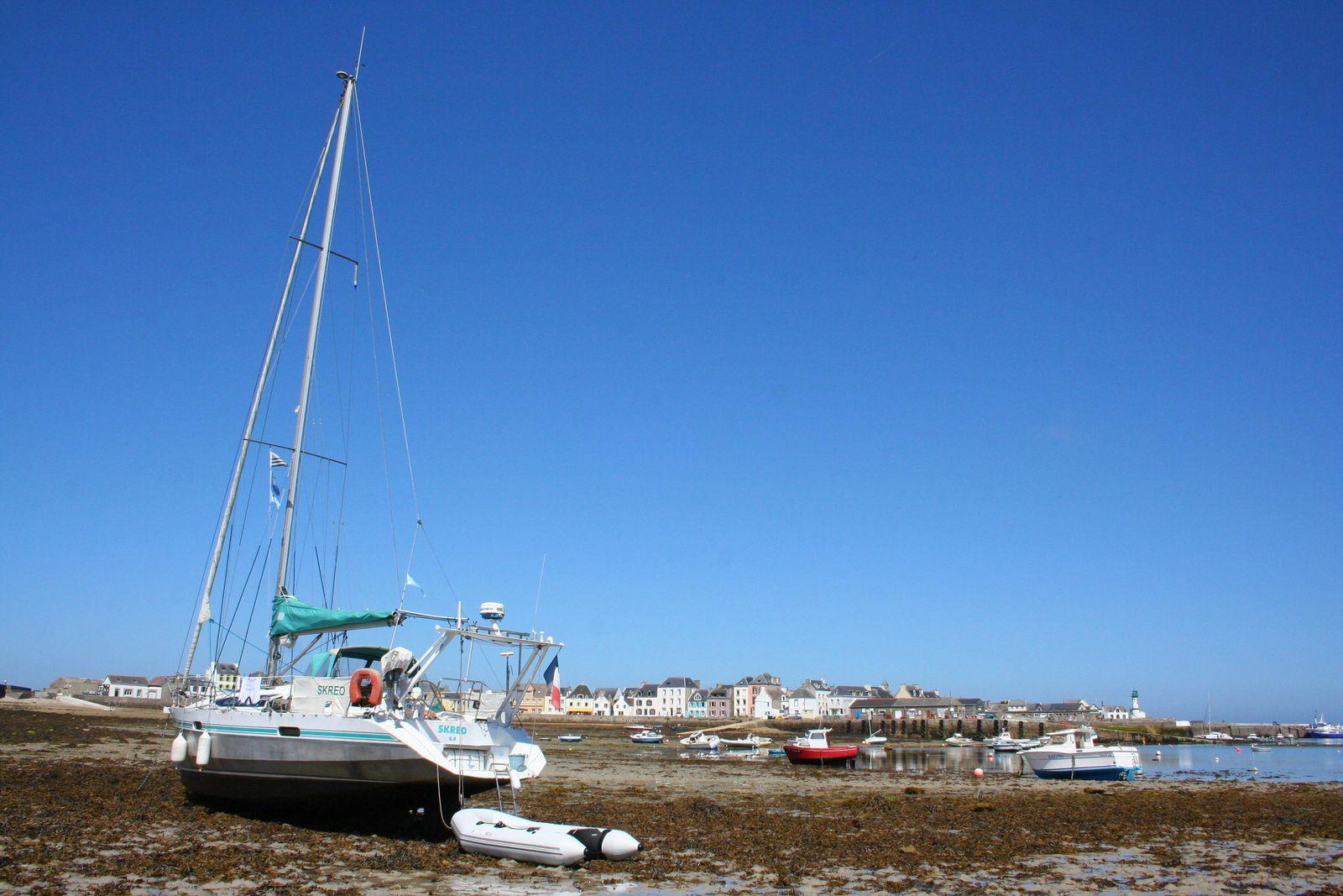 Skreo à la basse-mer dans l'anse-sud du port de Sein.