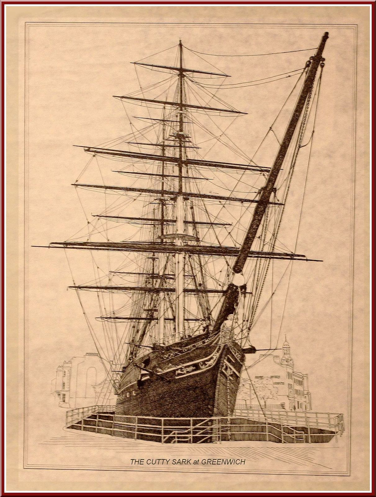 Lithographie non signée du Cutty Sark, collection privée.
