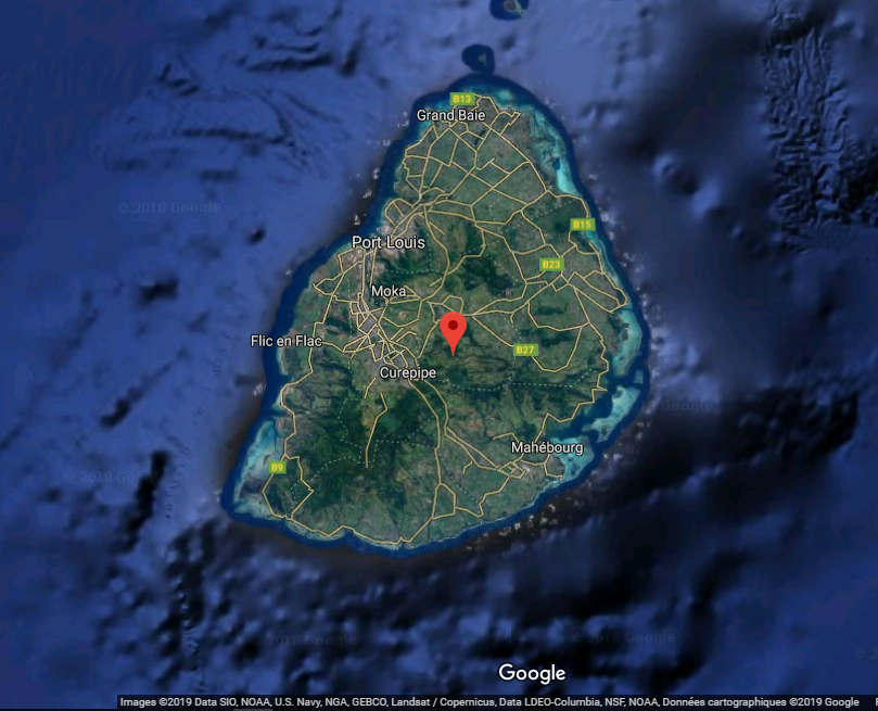 Carte de l'île Maurice, Port-Louis. Cliquer sur le lien ci-dessous pour changer l'échelle et accéder aux vues par satellite de Google Maps... Click on the link  below and, with max zoom, move the little yellow man on the blue dots to access the 360 ° views ...