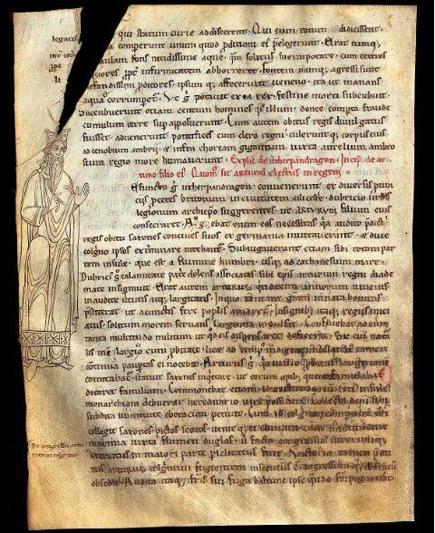 Premier portrait d'Arthur, Historia Regnum Britanniae, Geoffroy de Monmouth, milieu du XIIème siècle, copié à l'abbaye du Mont Saint-Michel, BnF (MS latin 8501, f.108v)