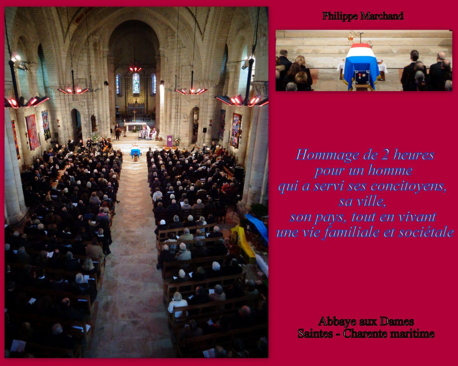 Une foule a accompagné Philippe Marchand à sa dernière demeure, tout au moins était à ses côtés et ceux de sa famille pour la cérémonie d'obsèques à l'abbaye aux Dames de Saintes.