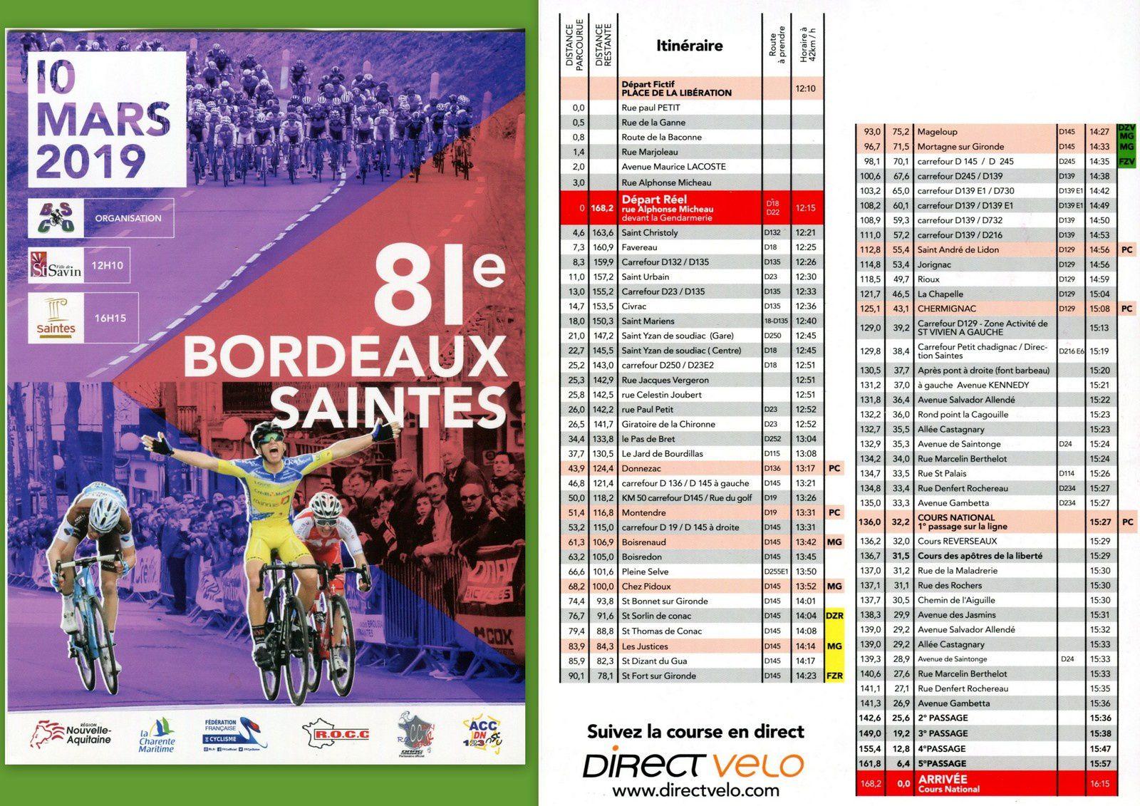 20 - Union des anciens coombattants saintais. Bordeaux Saintes le 10 mars.