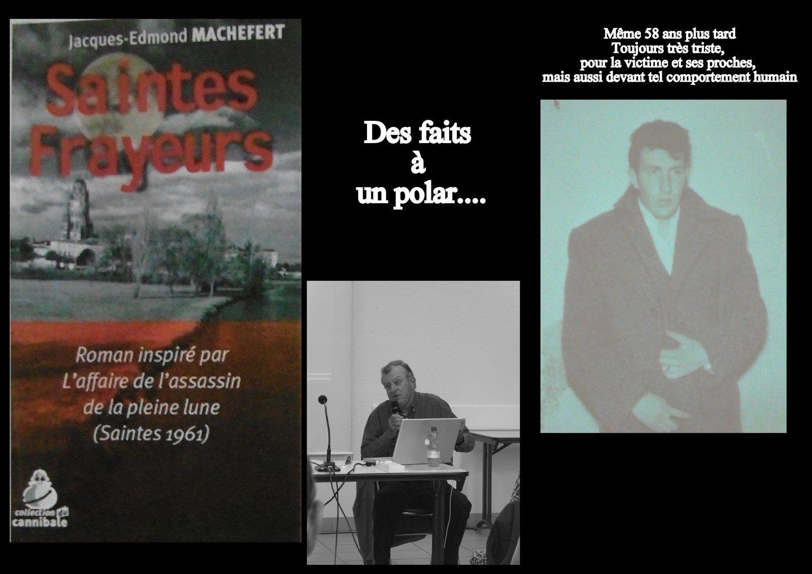 """Jean-Edmond Machefert, écrivain saintongeais très connu a écrit """" son """" polar basé sur un triste fait divers réél, aussi il en a parlé devant une belle assemblée, mais sans jury."""