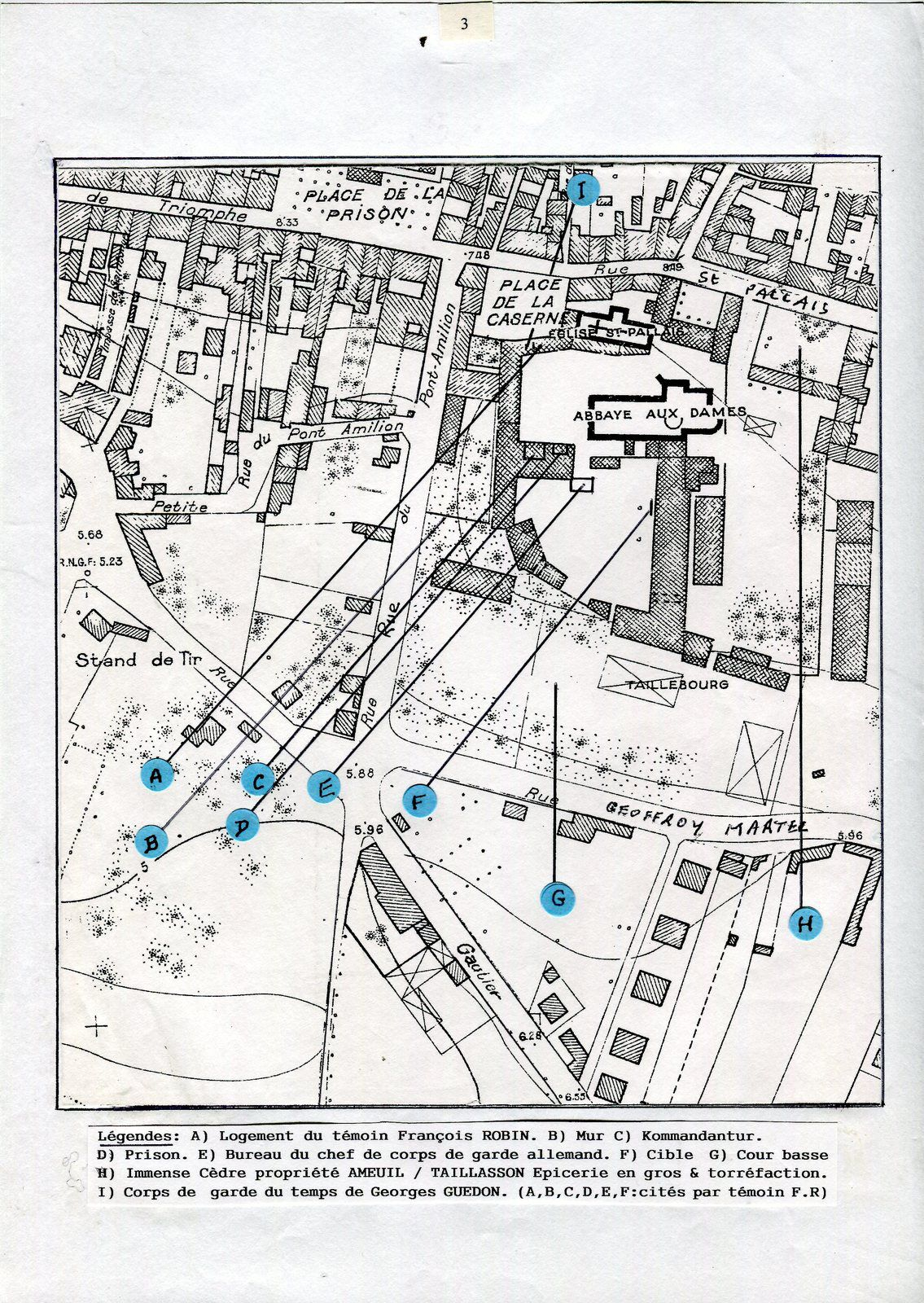Attention les photos qui suivent n'ont pas un lien direct avec le témoignage, mais bien sûr elles nous parlent de cette époque. Le plan de l'abbaye aux Dames a été exécuté avec l'aide de témoins de l'époque et aussi de la sentinelle française qui était de garde à la porte de la caserne Taillebourg lors de l'arrivée des Allemands à Saintes le 22 juin 1940.