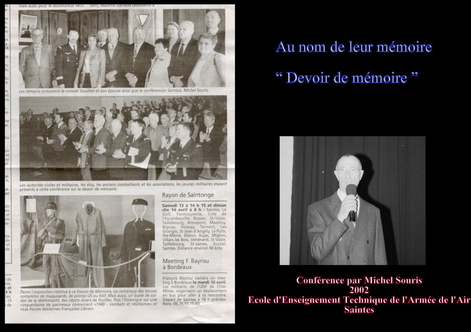 30 - J'étais conférencier à l'école des Elèves techniciens de l'armée de l'air de Saintes - Août 2002