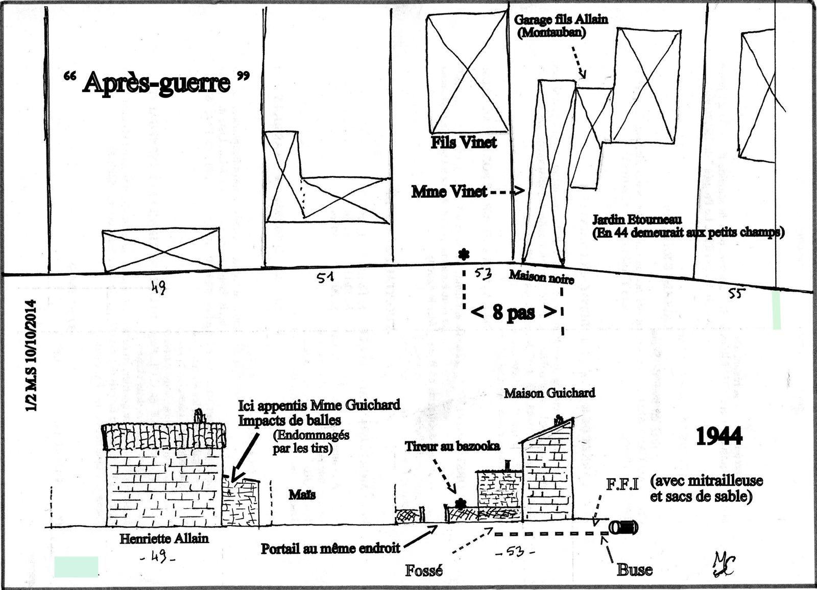 """Plan des lieux des combats et avec la """" fameuse maison blanche (noire à une autre époque) """" d'où les premiers coups de bazooka ont été tirés contre la colonne allemande. Voir ci-après le témoignage de Mme Thomas...."""