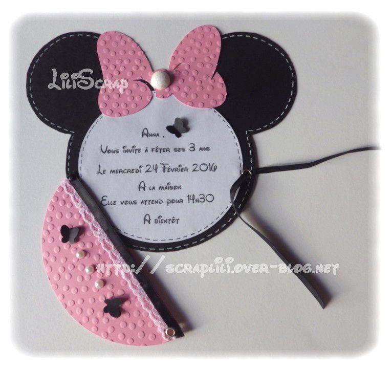 Favoris Faire-Part ou Carte d'invitation thème Mickey et Minnie  KX95