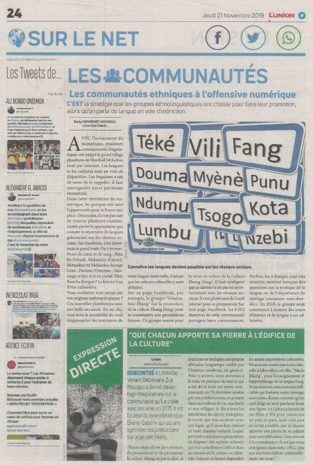 venant Debomame dans le journal l'Union Fang culture Ekang