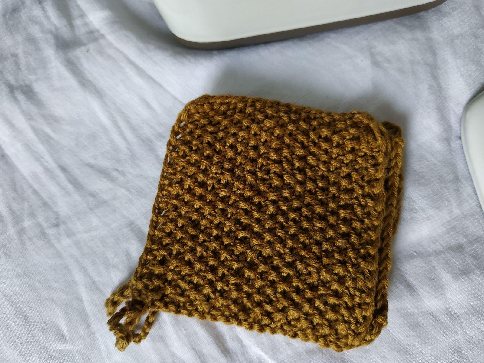 Carrés démaquillants au tricot, version 2