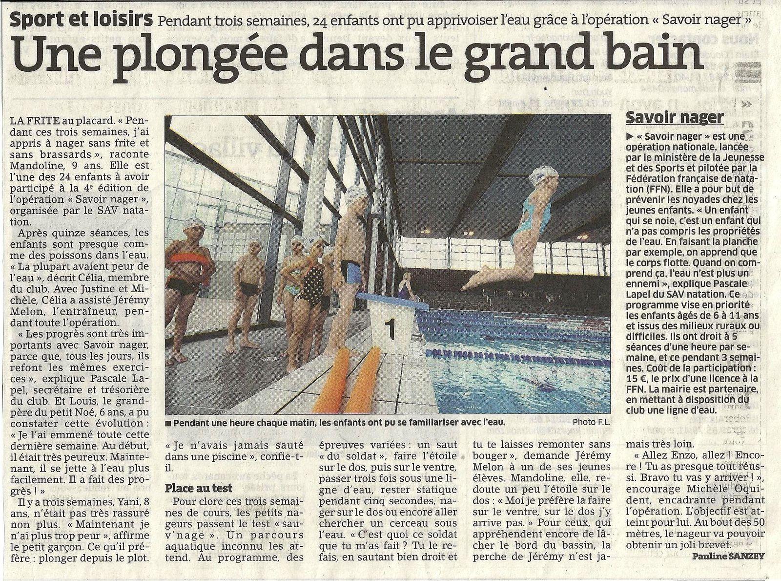 BEL ARTICLE DE L'EST RÉPUBLICAIN DU 30/07