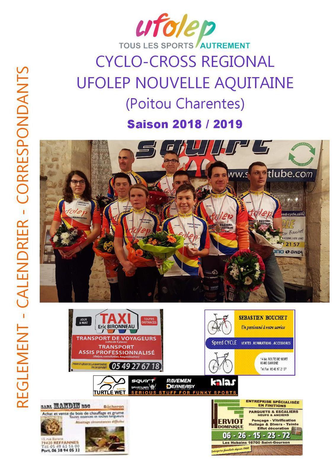 CALENDRIER 2018/2019 CYCLO-CROSS REGIONAL UFOLEP NOUVELLE AQUITAINE