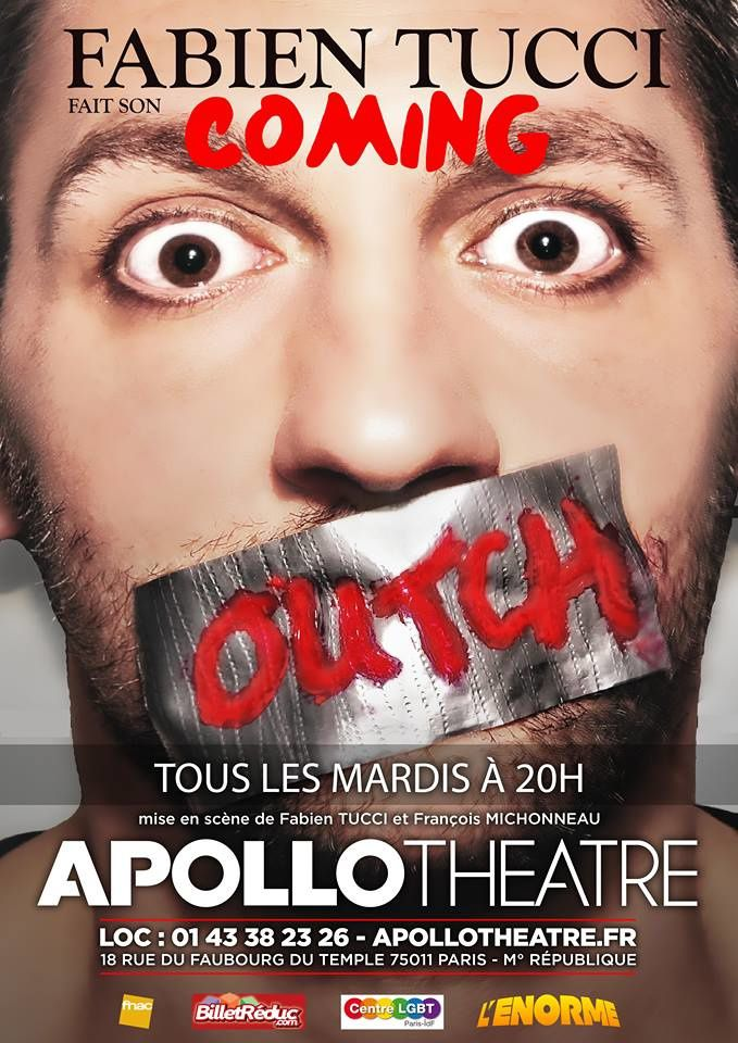 affiche Fabien Tucci fait son coming Outch - spectacle -  apollo Théâtre
