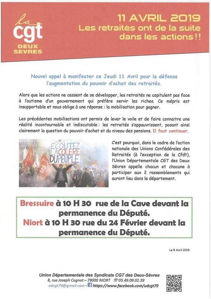 Niort - Jeudi 11 avril 2019, on manifeste pour le pouvoir d'achat des retraités