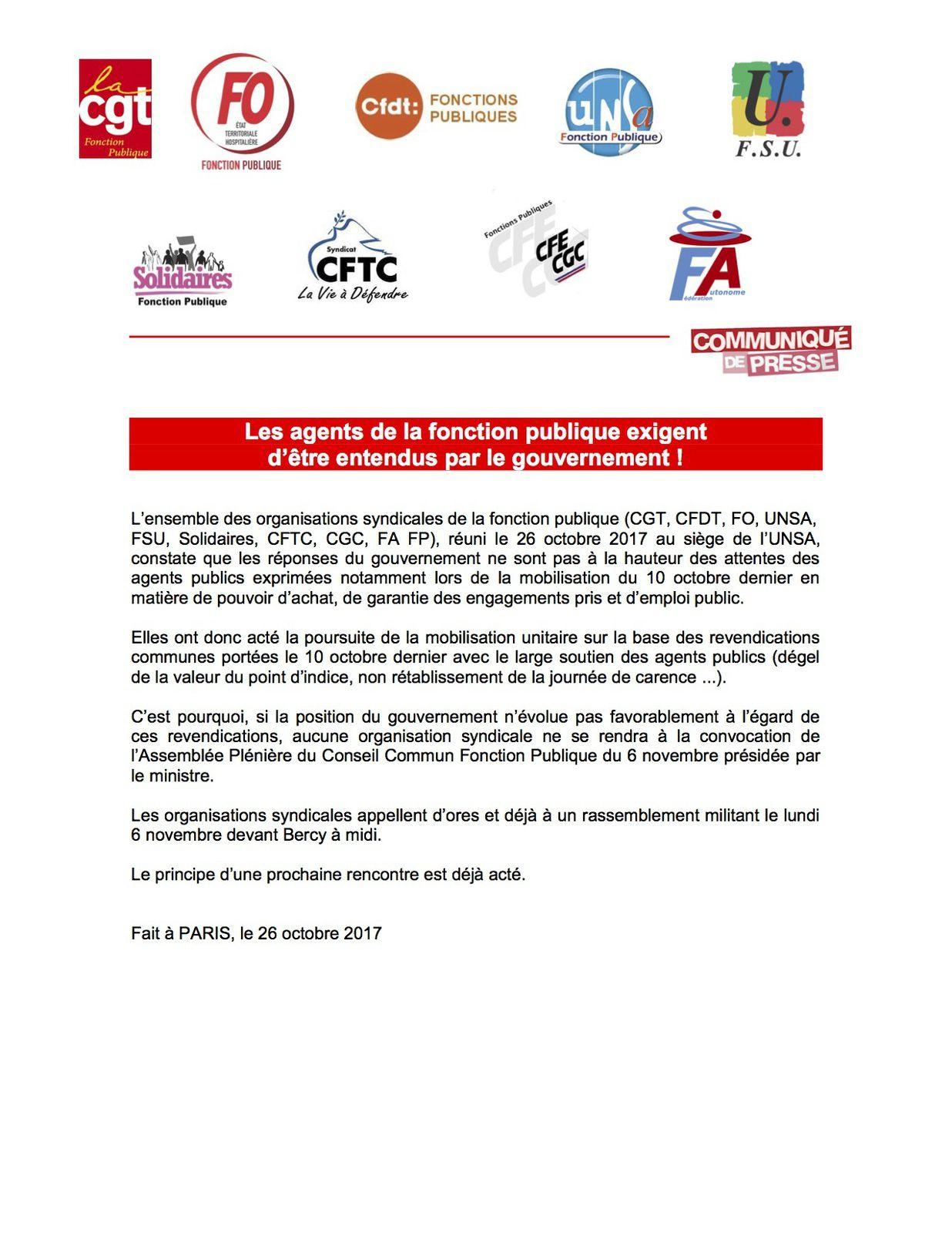 f08aa8b868a Les neuf organisations de fonctionnaires dont l Union interfederale des  agents de la Fonction publique - Force Ouvrière (UIAFP-FO) ont annoncé le  26 octobre ...