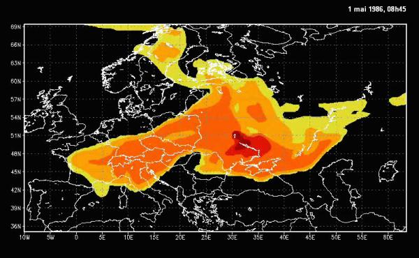 La dispersion réelle des particules nucléaires en Europe après l'accident de Tchernobyl (1986)