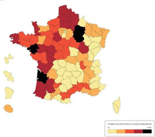 Carte montrant la quantité de pesticides dangereux déversés dans chacun des départements.(FRANCE TV INFO)