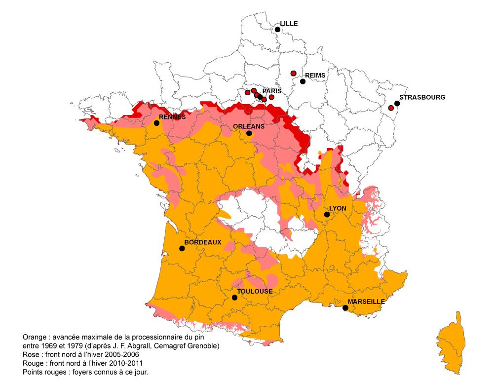 Carte de répartition des chenilles processionnaires d'après l'INRA