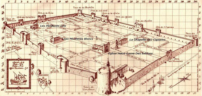 Plan des églises à l'intérieur de la cité d'Aigues-Mortes (photo du net)
