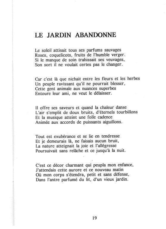 """""""Le jardin abandonné"""" page 19 du recueil"""