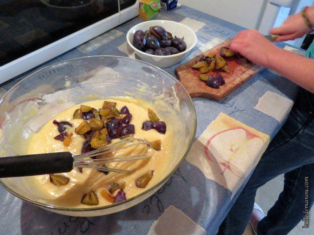 Quelques étapes lors de la réalisation du gâteau...