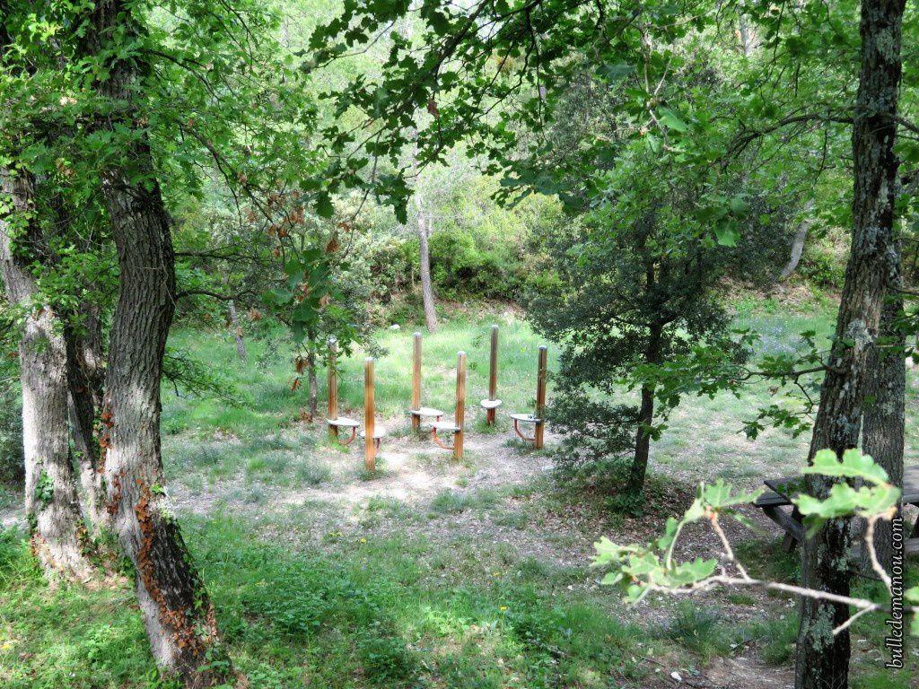 Quelques éléments du parcours de santé dans la forêt