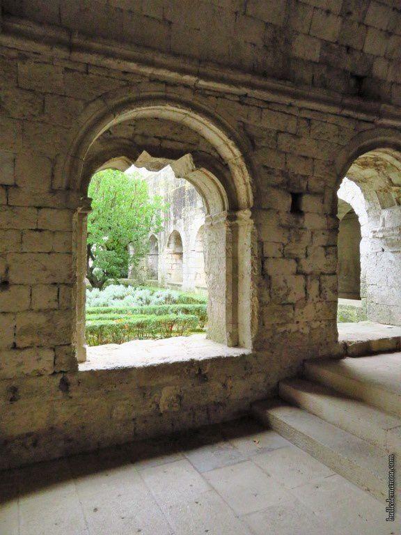 Le jardin du cloître vu de l'intérieur