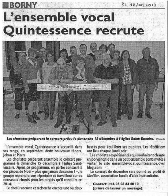 Revue de presse : R.L. du 16/10/2013