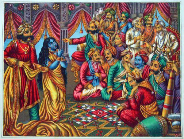 Karna insiste pour mettre toute nue Draupadi, la femme des Pandava