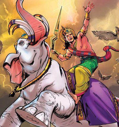 Indra attaquant Skanda