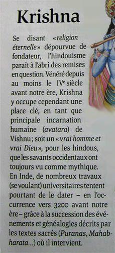 Krishna, selon le magazine Le Monde des Religions