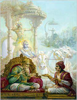 Dhritarasta et Sanjaya dans la Bhagavad-gita