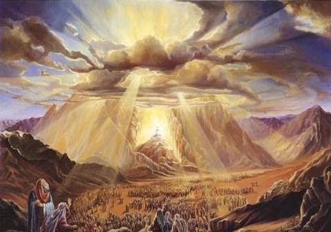 Moïse et Dieu sur la montagne oû Dieu lui parla, sans le voir.
