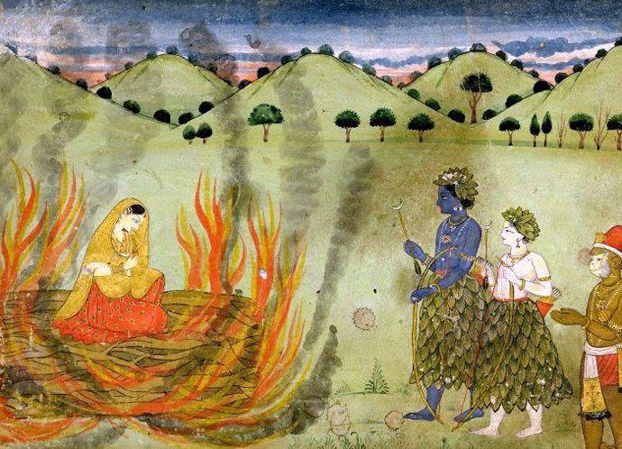 Sati, la femme de Shiva, s'immole par le feu, Shiva arrivant trop tard