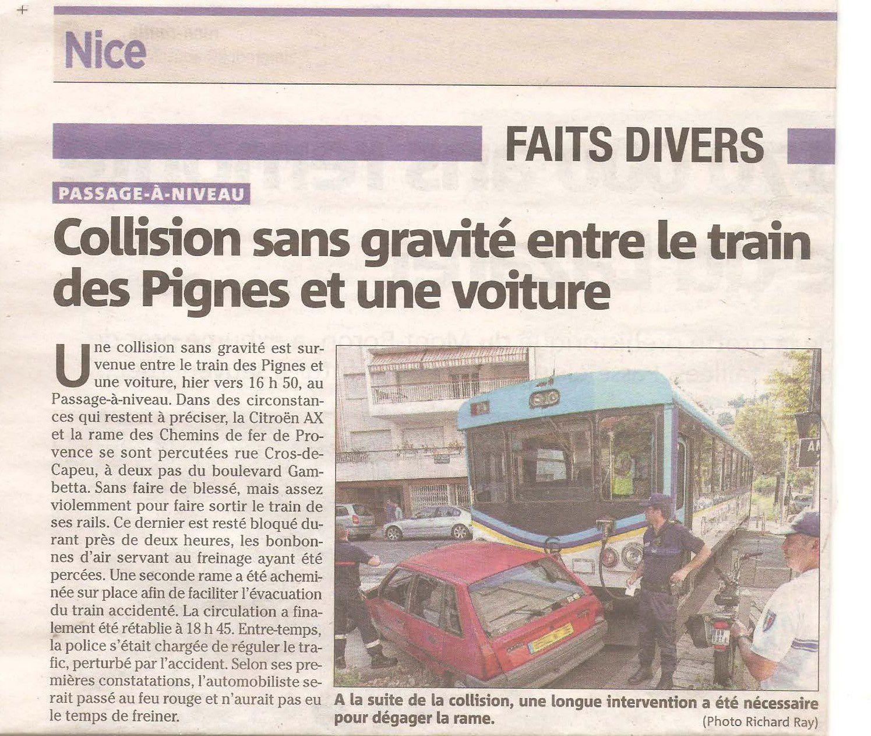 Collision entre le train des Pignes et une voiture à Nice