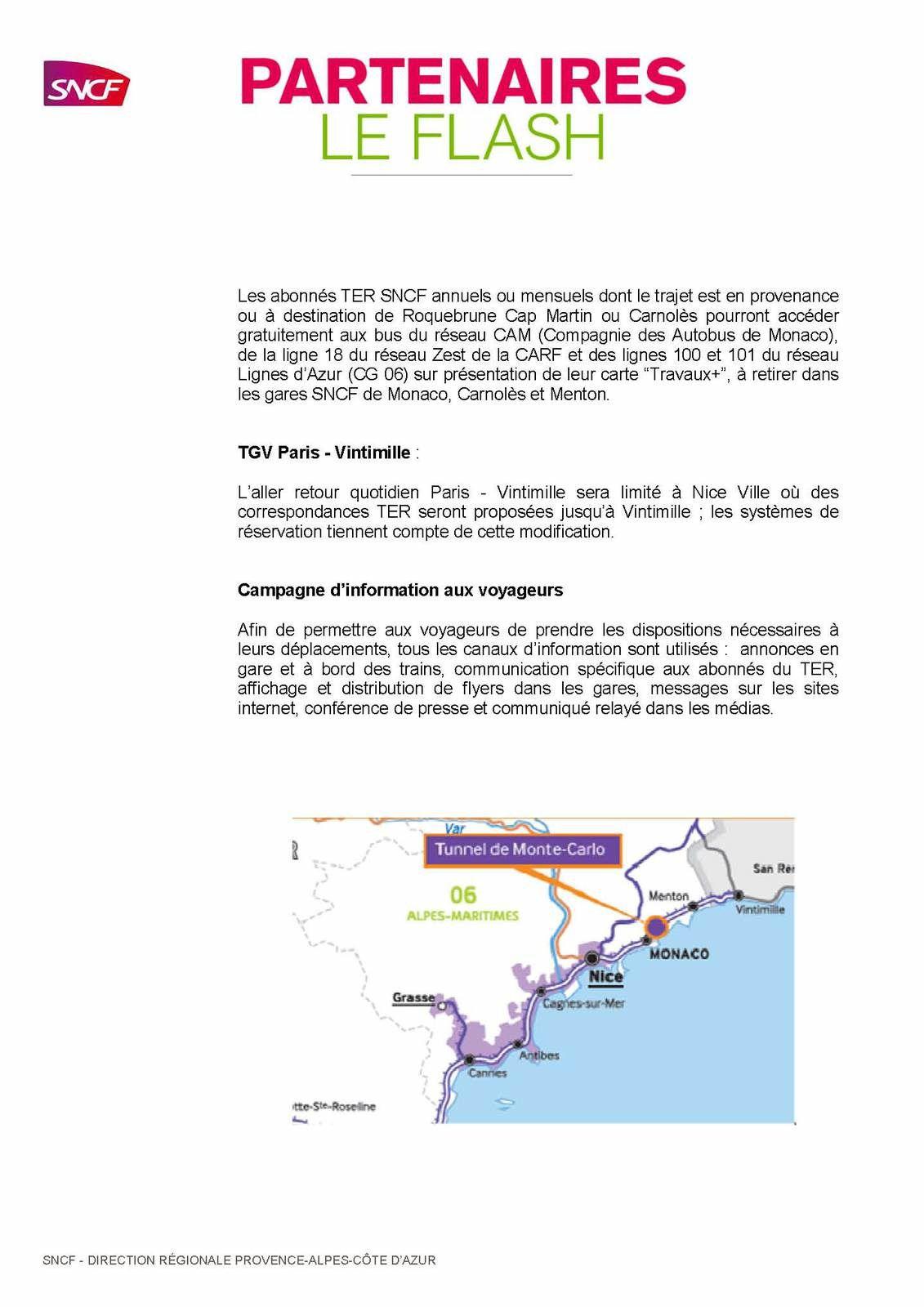 Circulations ferroviaires adaptées aux travaux du tunnel de Monaco