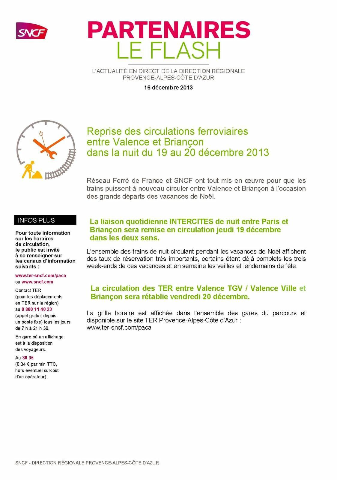 Circulation bientôt rétablie entre Valence - Veynes - Briançon