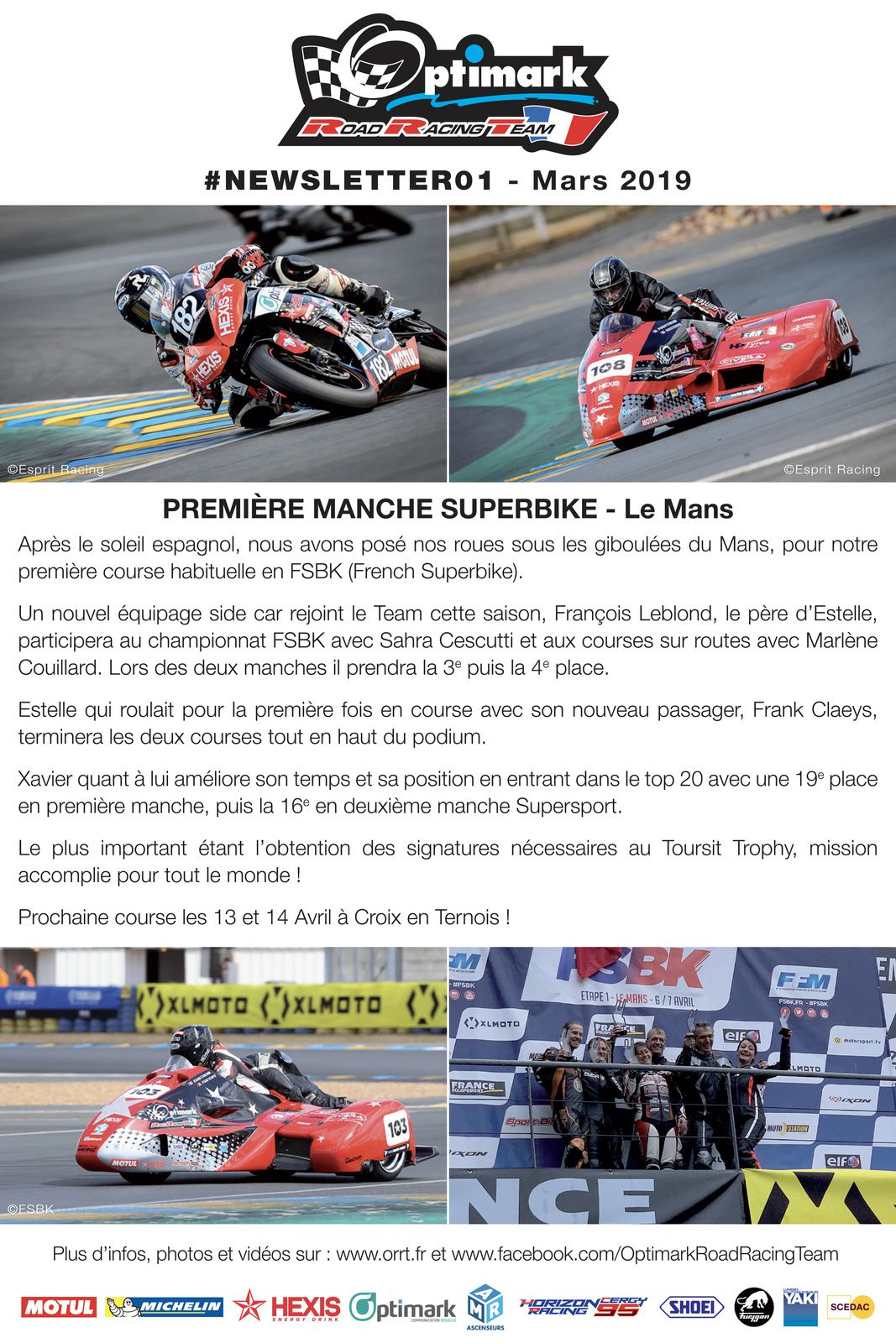 Newsletter Team Optimark Road Racing 2019