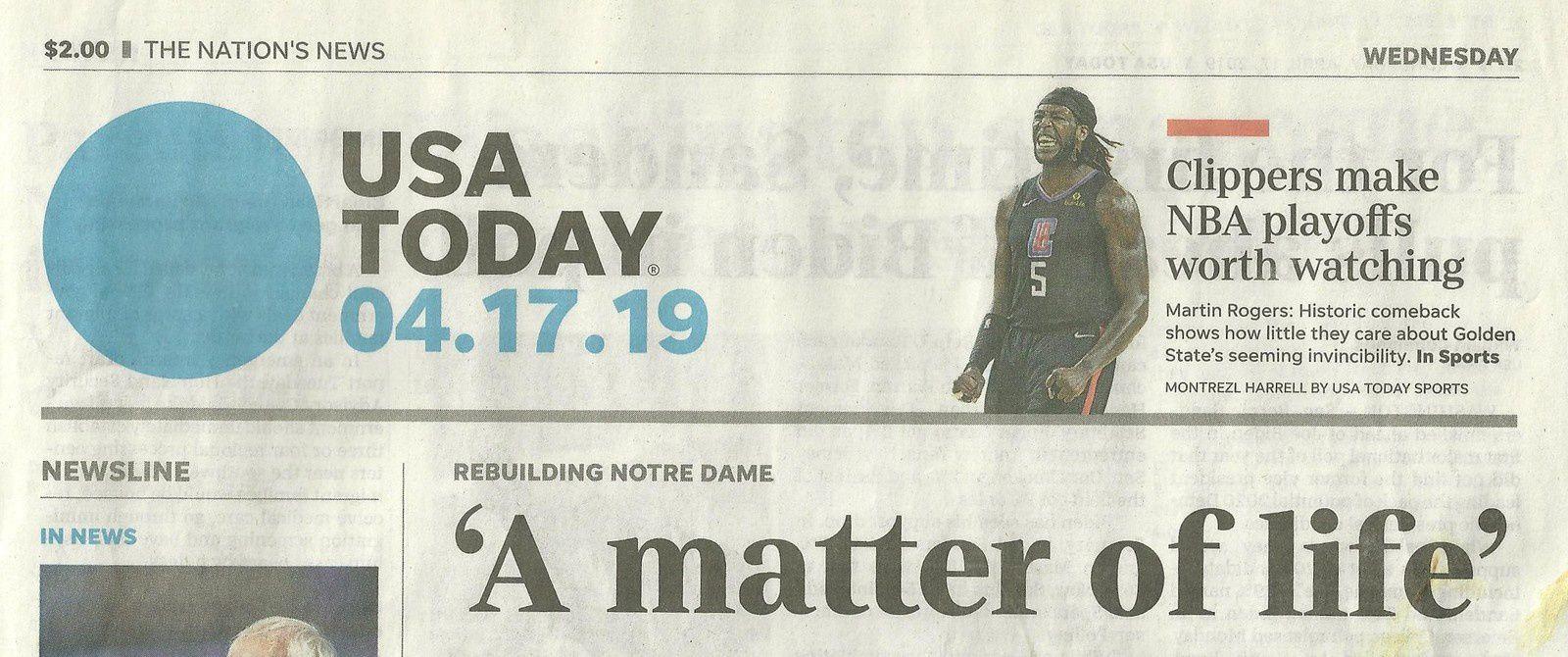 """Le quotidien USA TODAY dont j'ai tiré toutes les illustrations de cet article, en fait sa Une avec le titre """"A matter of life"""" (Une question de vie). Celle-ci se prolonge en page intérieure."""