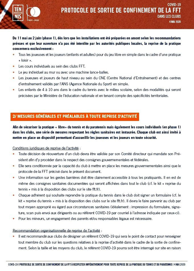 Plan de dé-confinement COVID 19
