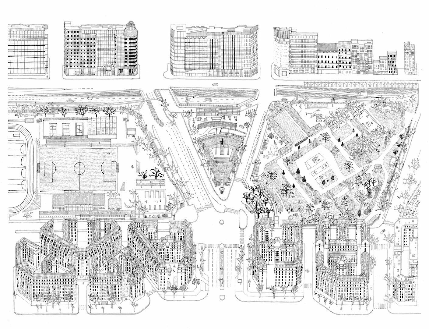 Les portes de Paris, dessins de Thomas Sindicas : une attention à la ville en mouvement