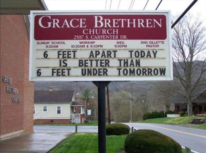 mieux vaut 6 pieds de distance aujourd'hui que 6 pieds sous terre demain
