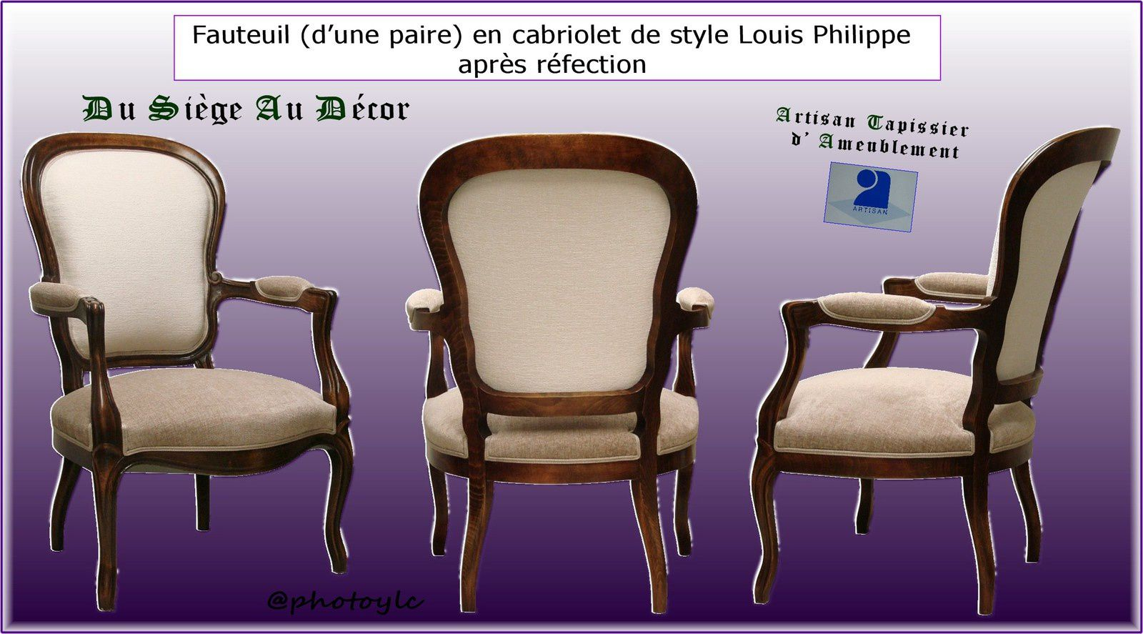 fauteuil cabriolet style louis philippe x2 du si ge au d cor tapissier d 39 ameublement du. Black Bedroom Furniture Sets. Home Design Ideas