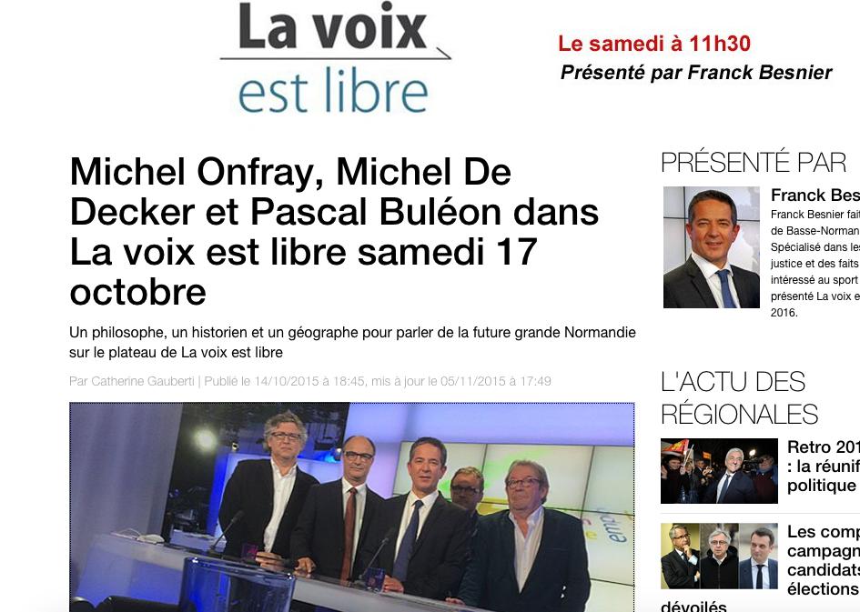 Michel Onfray - La voix est libre (France 3) - 17.10.2015