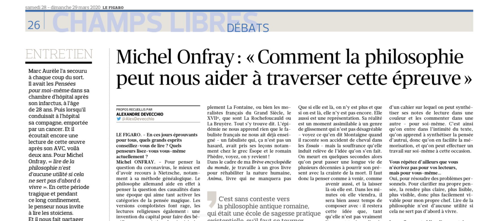 Michel Onfray - Le Figaro 28 mars 2020