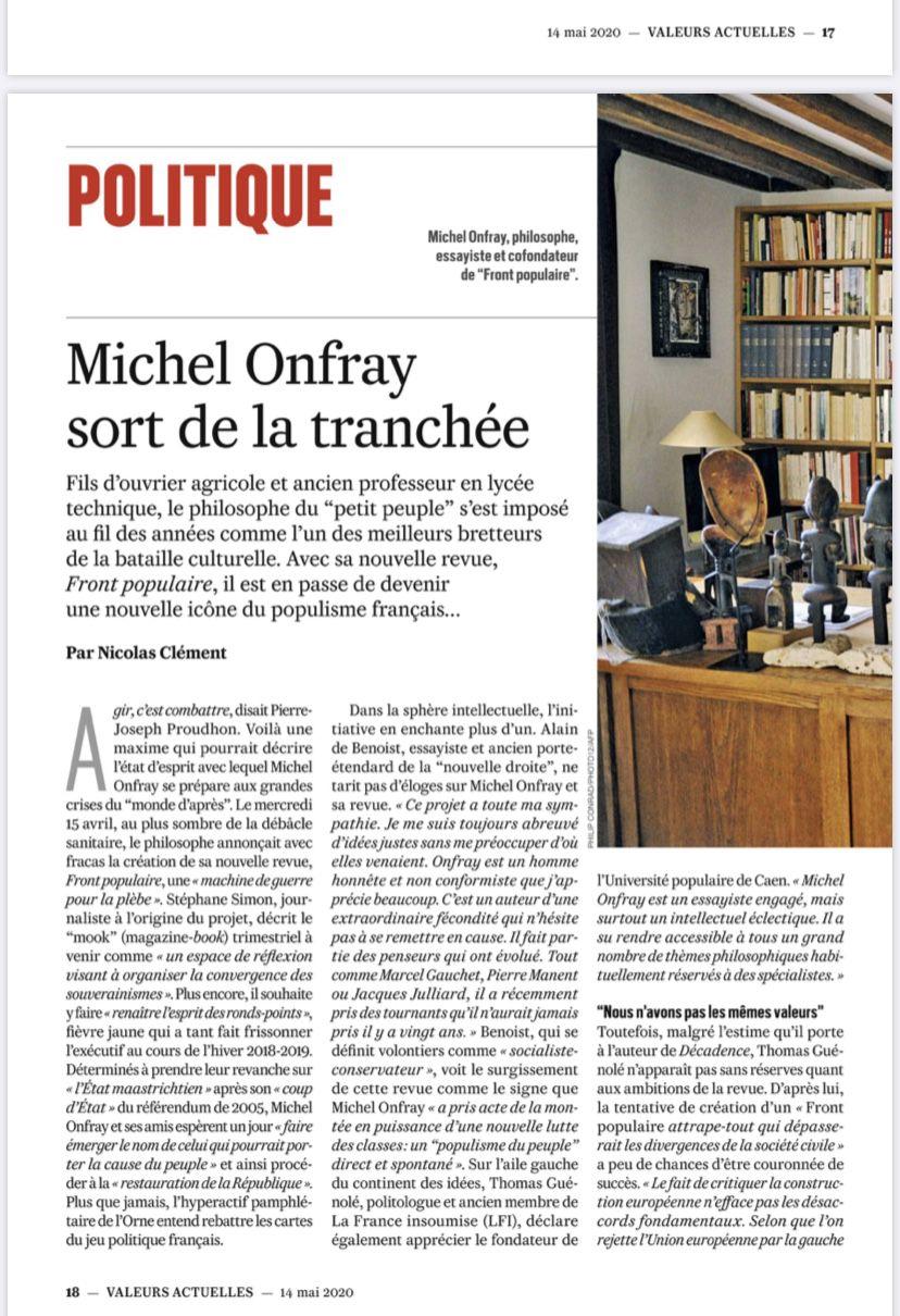 Michel Onfray - Michel Onfray sort de tranchée (Valeurs actuelles) - 14.05.2020