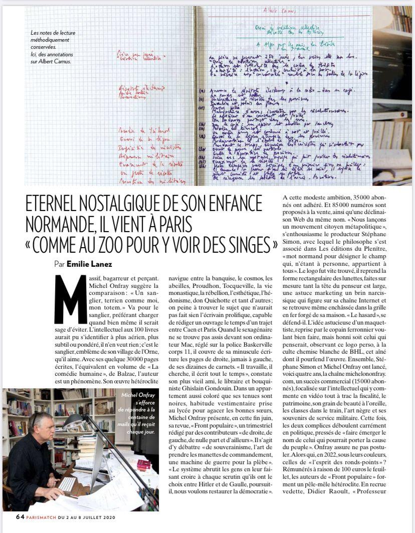 Michel Onfray - Paris Match - 02.07.2020