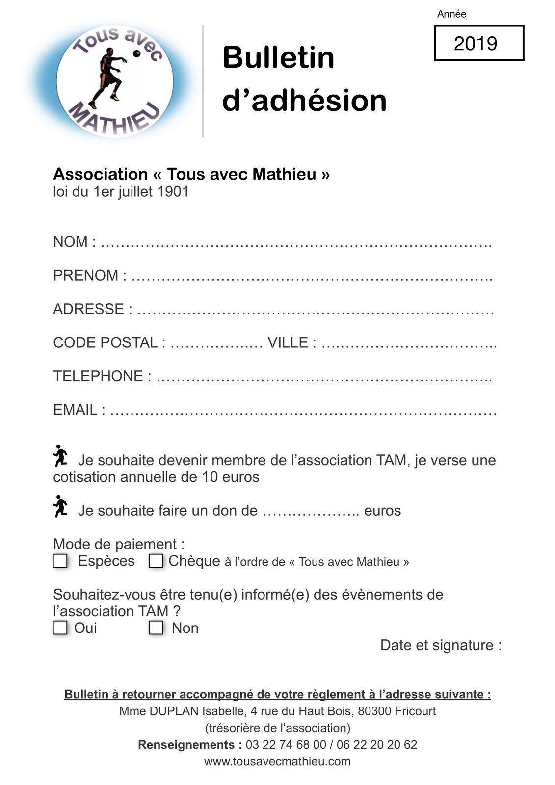 Adhésion en ligne Tous avec Mathieu : c'est désormais possible